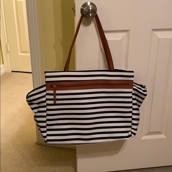 DSW Handbags - Black and White Stripe Tote